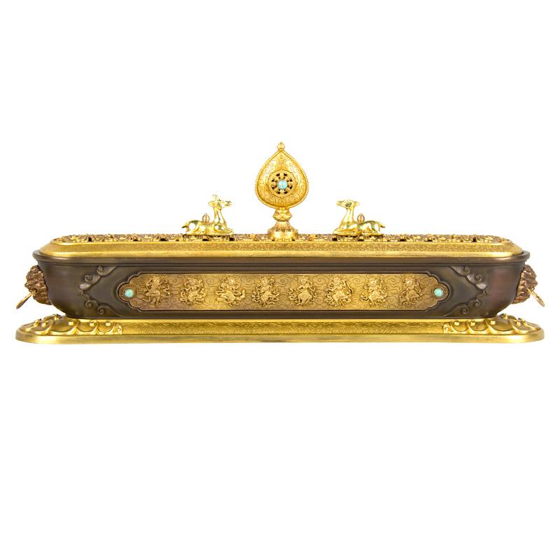 黄金古色八吉祥铜鎏金卧香炉